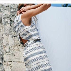 Madewell linen open back overlay dress Size 8